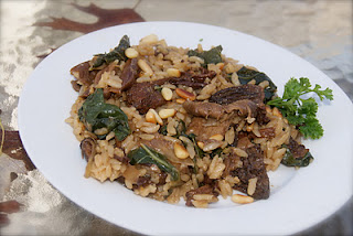 Morel Risotto with Garlic Roasted Pine Nuts