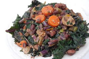 Red Kale Saute with Adzuki Beans