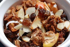 Apple Cinnamon Cobbler with Coconut, Walnuts, Almonds, and Raisins