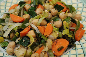Baked Leeks with Fennel, Carrots, and Garbanzo Beans