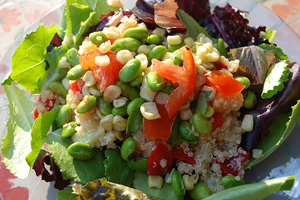 Basil, Corn and Edamame Salad