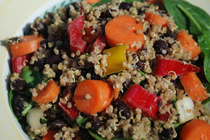 Chipotle Quinoa with Black Beans, Jicama, Peppers, and Carrots