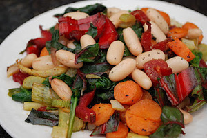 Roasted Carrots and Fennel with Beans, Chard and Spinach Sautee