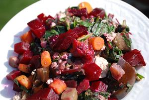 Satay Sautéed Tofu, Eggplant, Leeks, Carrots, and Greens with Fresh Herbs, Roasted Beets, Garbanzo Beans, and Shiitake Mushrooms
