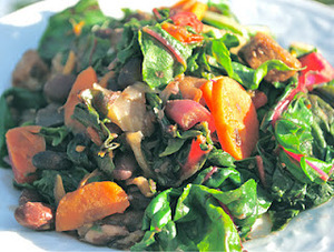 Swiss Chard with Eggplant, Carrots and Mushrooms