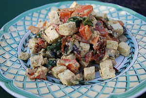 Tofu Scramble with Spinach, Mushrooms and Roasted Red Pepper